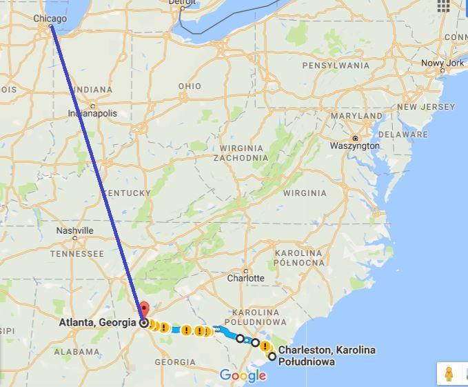 1-lot z Chicago do Atlanty; 2-samochodem z Atlanty do Charleston